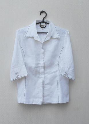 Белая льняная блузка с коротким рукавом с воротником manon