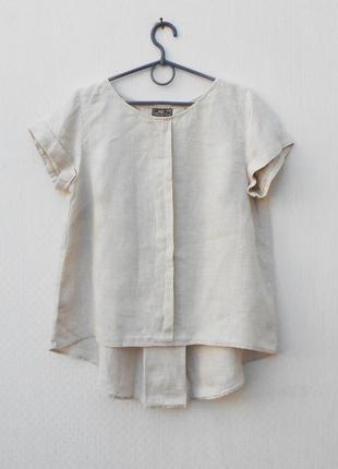 Бежевая летняя льняная свободная блузка