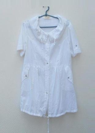 Белое летнее легкое хлопковое платье рубашка туника пляжная 🌿