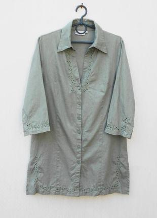Летнее вышитое бисером платье рубашка туника из льна и хлопка ...