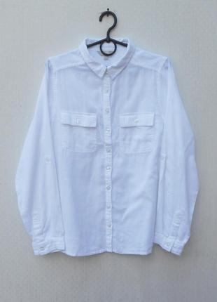 Белая хлопковая летняя рубашка с длинным рукавом