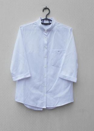 Белая летняя рубашка с рукавом 3/4 с интересной спинкой 🌿
