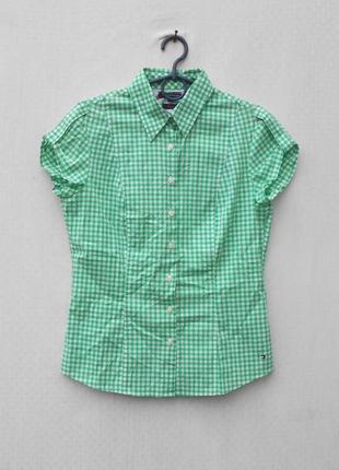Хлопковая рубашка с воротником в клетку с коротким рукавом 🌿
