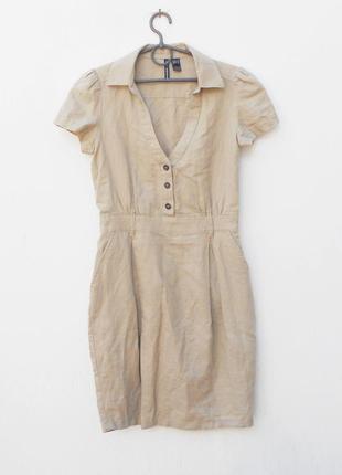 Летнее базовое натуральное платье с воротником с коротким рука...