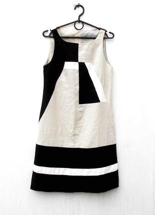 Летнее базовое платье без рукавов из льна и вискозы повседневн...