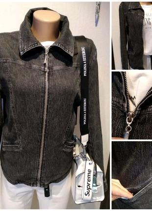 Черная джинсовая куртка пиджак жакет