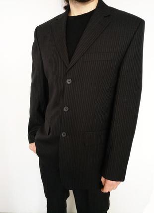 🔥🔥🔥черный мужской деловой костюм в полоску на выпускной свадьб...