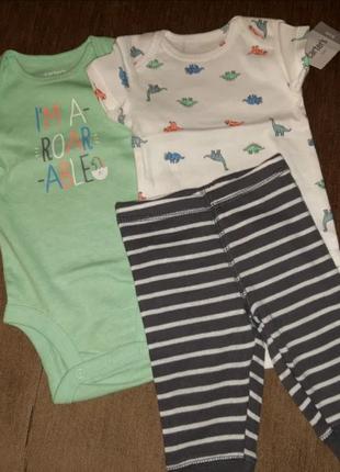 Carters костюм тройка для мальчика 3в1 на 3 мес хлопок динозавр