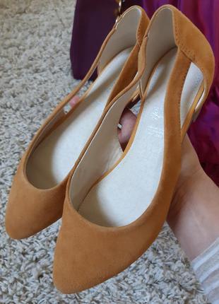 Шикарные стильные замшевые туфли балетки/лодочки, 5-th avenue,...
