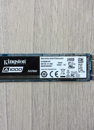 SSD диск 240GB M2 (NVMe) Kingston A1000 как новый чтение 1500мб
