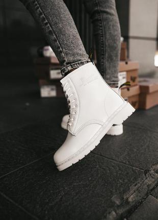 Dr.martens 1460 white fur женские кожаные зимние ботинки белог...