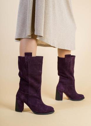 Демисезонные замшевые женские сапоги на каблуке 💥
