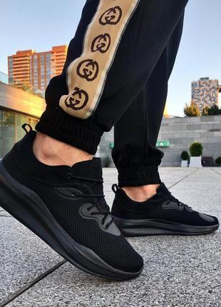 Чёрные мужские кроссовки стильные 41 42 43 44 45 46