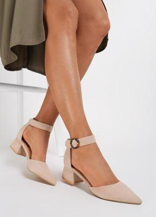 Бежевые туфли замша средний каблук 3 расцветки