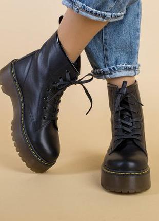 Женские ботинки на шнуровке кожаные💥