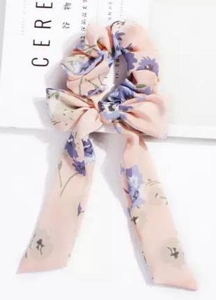 Розовый пудовый бант резинка текстильная лента на волосы