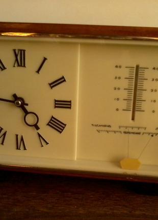 Часы «МАЯК» с барометром и термометром, СЧЗ, СССР, 1974 год.