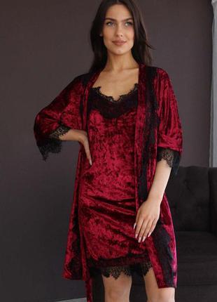 Mito 308 мраморный велюр комплект домашняя одежда халат и соро...