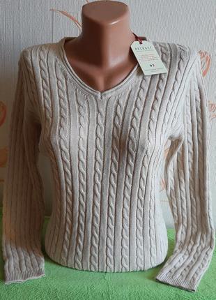 Стильный бежевый пуловер,красивая вязка peckott с биркой