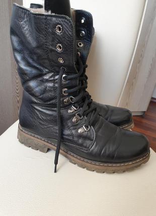 Кожаные зимние ботинки сапоги на шнуровке