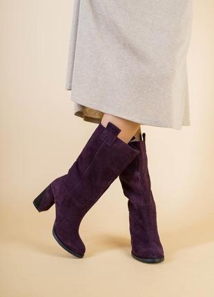Женские сапоги замшевые на каблуке
