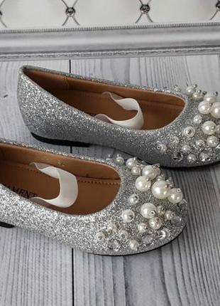 Нарядные туфли, серебренные туфли девочке