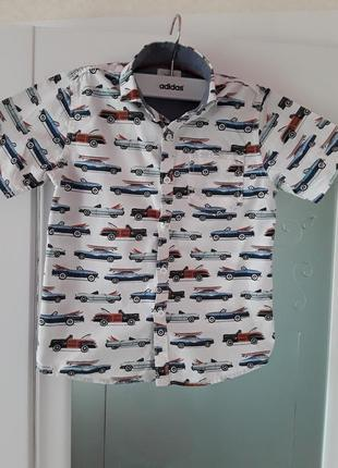 Фирменная рубашка next, рубашка с машинами