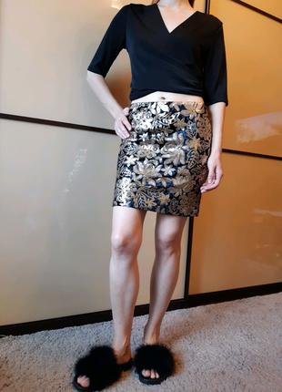 Бархатная юбка в цветочный принт, пайетки от george