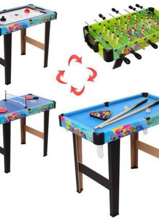 Детская настольная игра 4в1 на ножках 6008-4,футбол,хоккей,бильяр