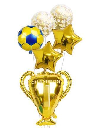 Шары воздушные Кубок, футбольный мяч, звезда
