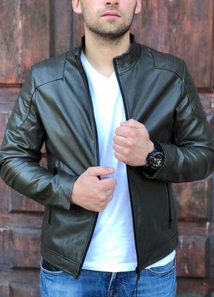 Молодёжная мужская кожаная куртка,Хаки