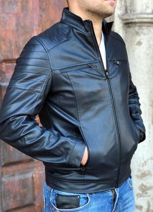 Молодёжная кожаная куртка,синий