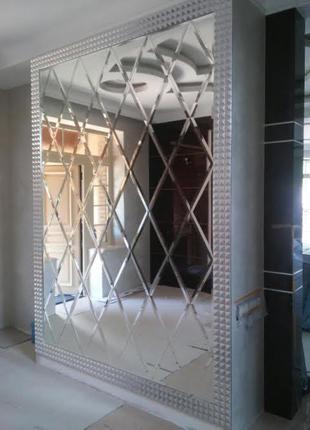 Зеркальная плитка с установкой - зеркальное панно