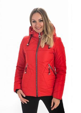 Женская куртка спортивная демисезонная красная