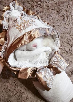 Одеяло конверт зимний на выписку для новорожденных мальчику ил...
