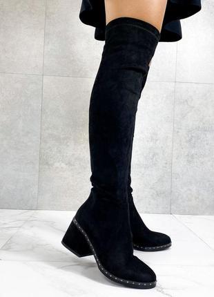 Чёрные замшевые сапоги на среднем каблуке,женские замшевые сап...