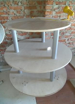 Стеллаж - стол. Большая столешница 120 см из ДСП ,круглый стол оф