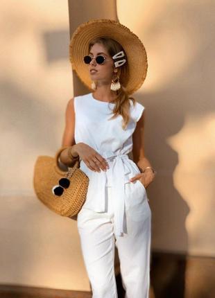 Жіночий лляний костюм двійка штани брюки блуза з баскою
