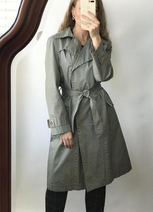 Тренч плащ пальто миди длинное винтажный винтаж ретро поясом д...