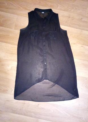 Шифоновая блузка рубашка безрукавка