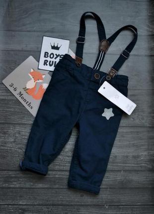 Классные штаны с подтяжками f&f 3-6месяцев