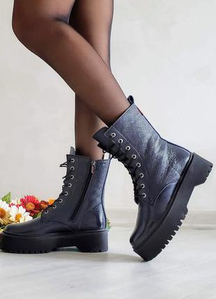Кожаные лаковые ботинки ботинки на толстой подошве натуральная...