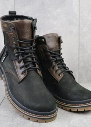 Мужские кожаные зимние ботинки черно-коричневые barzoni 210