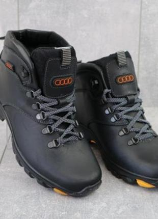 Мужские зимние кожаные черные ботинки storm rz-w