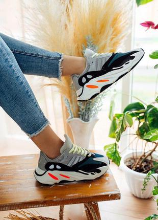Adidas yeezy boost 700 w*ve r*nner solid кроссовки женские адидас