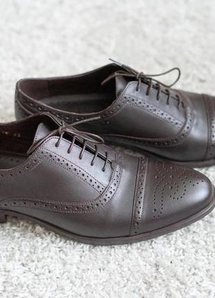 Мужские туфли броги икос кожаные коричневые