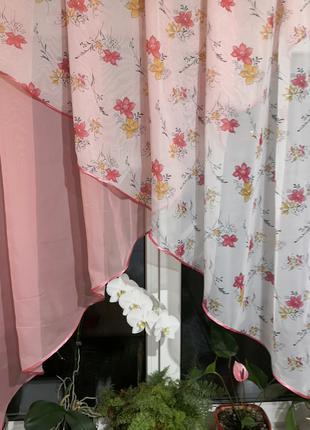 Занавеска штора тюль два угла цветы