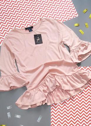 Блузка футболка пудрового цвета воланы распродажа!