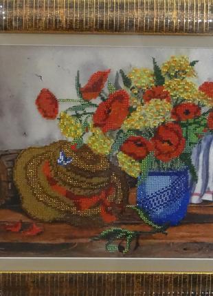 Продаётся картина ручной работы вышитая чешским бисером