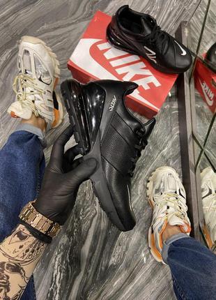 Мужские кроссовки 🔺nike air max 270 leather triple black🔺